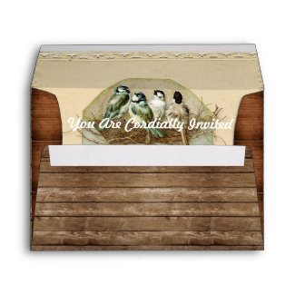 Rustic Glam Birds in Nest Wedding Envelope