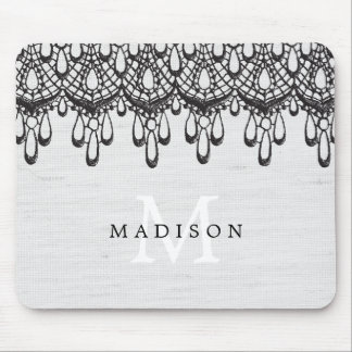 Rustic Glam Black Lace and Gray Linen Monogram Mouse Pad