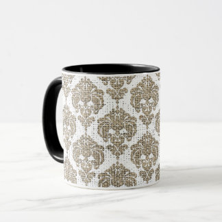 Rustic Glamour Burlap Royal Damask Chic Modern Mug