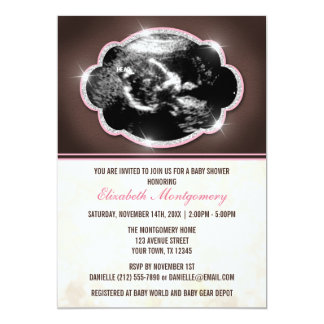 Rustic Glitter Pink Sonogram Baby Shower Card