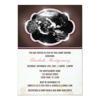 Rustic Glitter Pink Sonogram Baby Shower Personalized Invitation