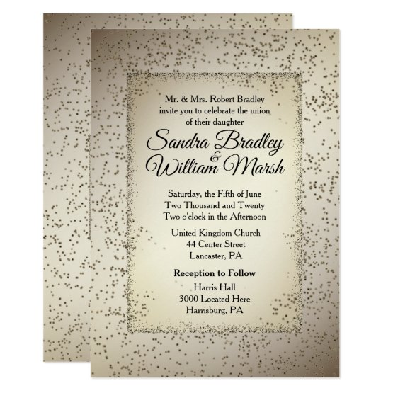 Rustic Glitter Wedding Invitation