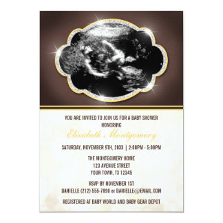 "Rustic Glitter Yellow Sonogram Baby Shower 5"" X 7"" Invitation Card"