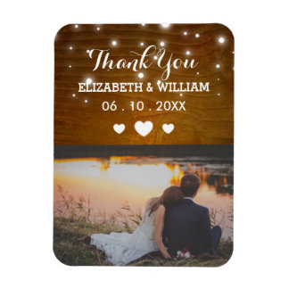 Rustic Glitz Wedding Magnet Favor Photo Thank You