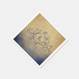 Rustic Gold and Navy Blue Bohemian  Flourish Paper Napkin