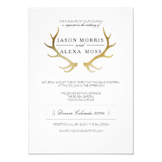 Rustic Gold Antler   Elegant Wedding Invitation