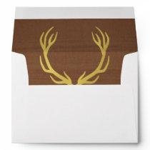 Rustic Gold Antlers 5x7 Wedding Envelope