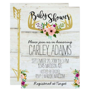 Rustic Gold Antlers & Arrows | Baby Shower Invite