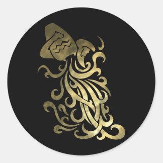 Rustic Gold Aquarius Water Bearer Round Sticker