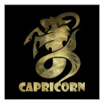 Rustic Gold Capricorn Goat 2 Poster