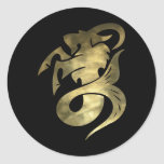 Rustic Gold Capricorn Goat Round Stickers