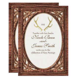 Rustic Gold Deer Antlers Two Tone Wood Invitation