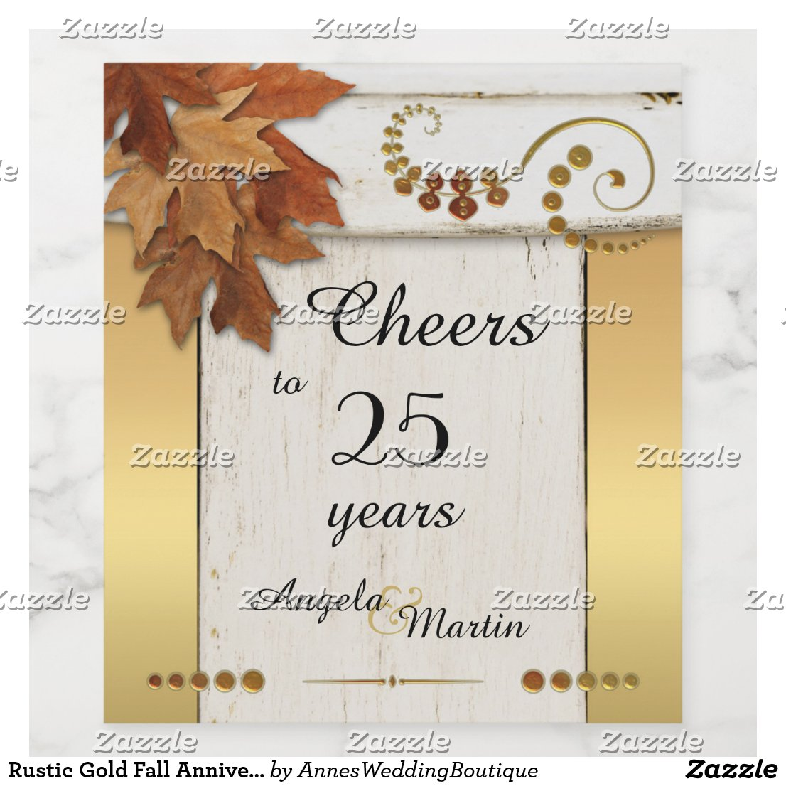 Rustic Gold Fall Anniversary Wine Label