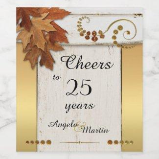 Rustic Gold Fall Anniversary Wine Label