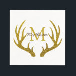 """Rustic Gold Faux Glitter Deer Antlers Napkin<br><div class=""""desc"""">Rustic elegant paper cocktail napkins perfect for a home bar featuring a faux gold glitter print deer antlers silhouette over white and your personalized monogram texts.</div>"""