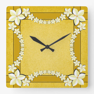 Rustic Gold Floral Modern Trendy Square Wall Clock