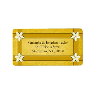 Rustic Gold Floral Return Address Labels Favors