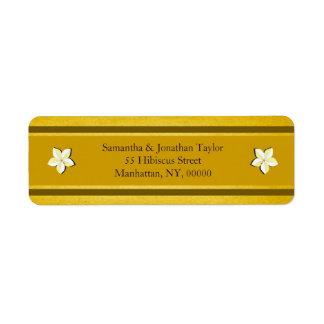 Rustic Gold Floral Return Address Labels Favors Custom Return Address Label