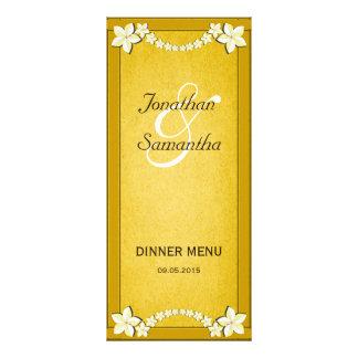 Rustic Gold Floral Wedding Dinner Menu Cards