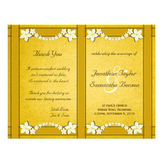 Rustic Gold Floral Wedding Program Template
