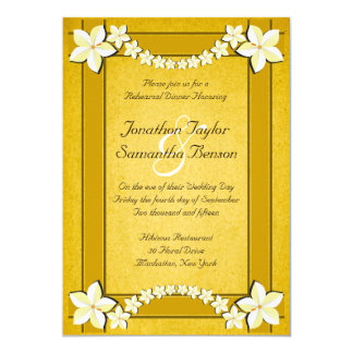 Rustic Gold Floral Wedding Rehearsal Dinner Invite