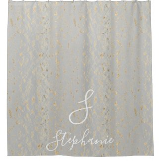 Rustic Gold Foil Patterns Grey Monogram Initials Shower Curtain