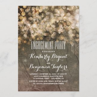 Rustic Gold Glitter Lights Wood Engagement Party