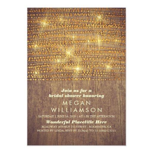 Rustic Gold Glitter String Lights Bridal Shower Card Zazzle