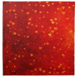 Rustic Gold Hearts on Red Distressed BG Cloth Napkin
