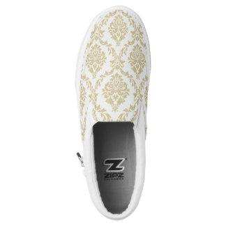 rustic gold,ivory,vintage,damasks,victorian,floral printed shoes