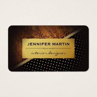 Rustic Gold Metallic Polka Dots Gold Specs Business Card