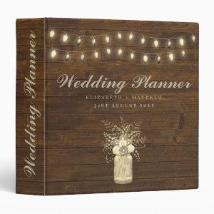 Rustic Gold Personalized Wedding Planner Mason Jar 3 Ring Binder