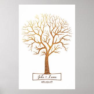 Rustic Gold Tree Thumbprint Wedding Guestbook
