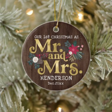Rustic gold typography 1st christmas mr and mrs  c ceramic ornament