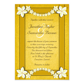 Rustic Gold White Floral Custom Wedding Invitation