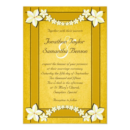 Rustic Gold White Floral Custom Wedding Invitation