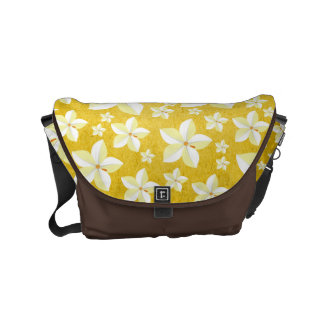 Rustic Gold with White Florals Brown Messenger Bag