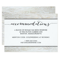 Rustic Gold Wood Grain Wedding Accommodations Card