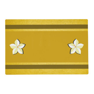 Rustic Gold Yellow Brown White Floral Double Sided Placemat