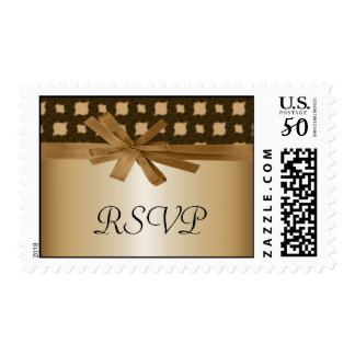 Rustic Golden Bow & Rope Country Wedding Postage