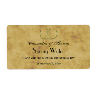 Rustic Golden Horseshoes Distressed Water Label