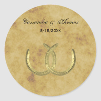 Rustic Golden Horseshoes Silver Wht envelope seals Classic Round Sticker