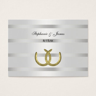 Rustic Golden Horseshoes Silver Wht Escort Cards