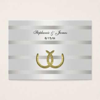 Rustic Golden Horseshoes Silver Wht Place Cards