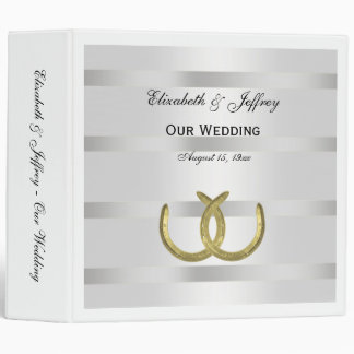 Rustic Golden Horseshoes Silver Wht Wedding Binder