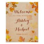 Rustic Golden Maple Leaves Fall Wedding Sign Poster
