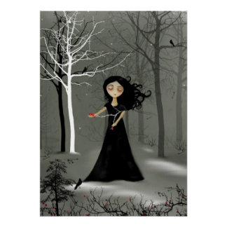 Rustic Goth Melancholy Girl Poster