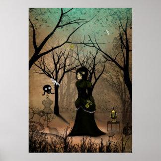 Rustic Goth Steampunk Art Victorian Girl Poster