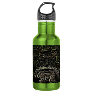 rustic gothic looking old man in leaves design water bottle
