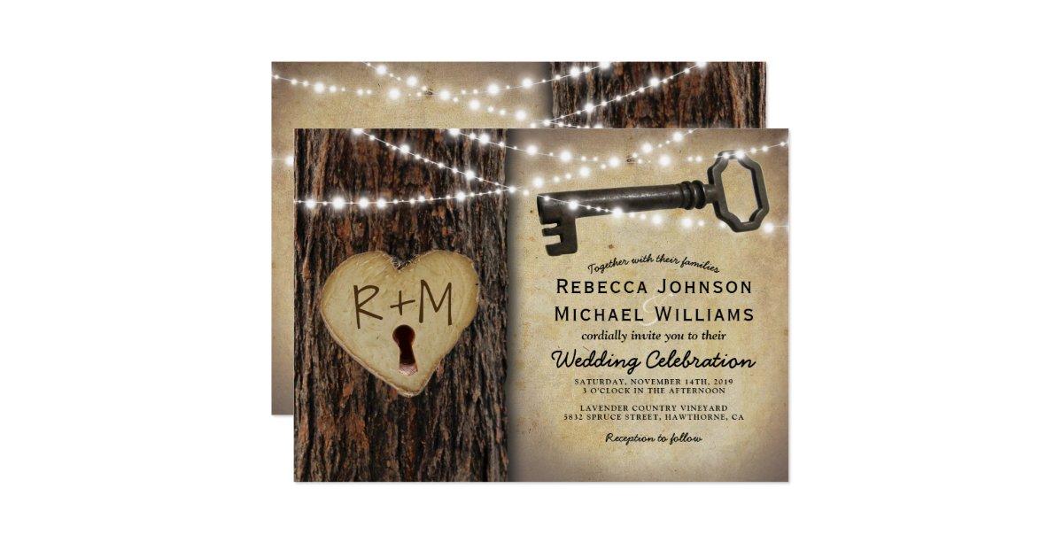 Key Themed Wedding Invitations: Rustic Gothic Skeleton Key & Tree Heart Wedding Invitation